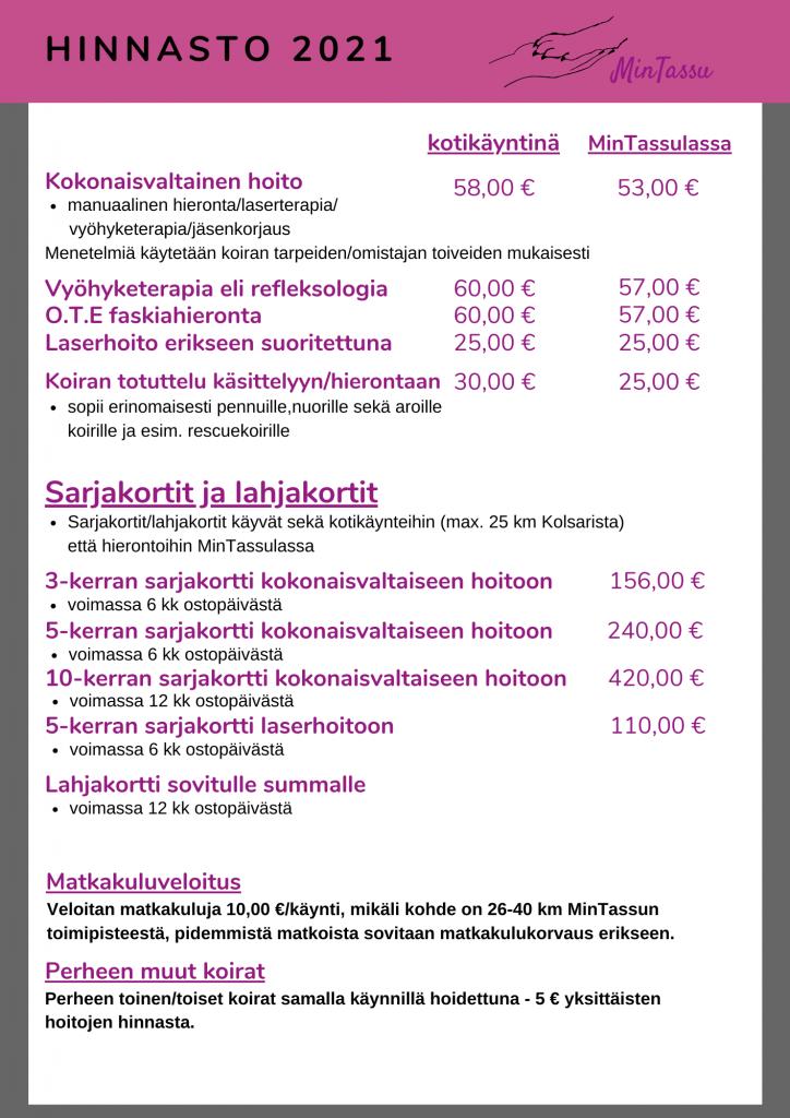 MinTassun hinnasto 2021